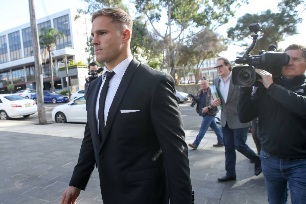 Jack de Belin enters Wollongong courthouse